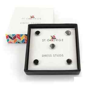 Silver-amp-Black-Screw-Fit-Shirt-Studs-from-St-George-Dresswear-5-Studs-514