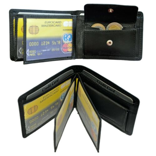 kleine Geldbörse mit RFID-Safe Portemonnaie Geldbeutel Rindleder Herren Damen