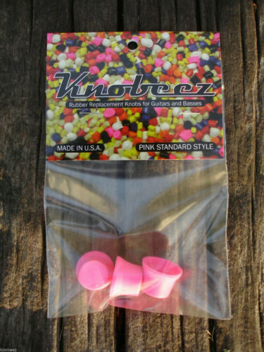 Pink Three Standard Rubber KNOBEEZ Guitar and Bass Knobs