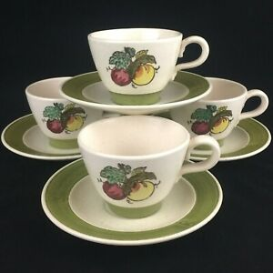 Set-of-4-VTG-Cups-and-Saucers-by-Metlox-Poppytrail-Vernon-Provincial-Fruit-USA