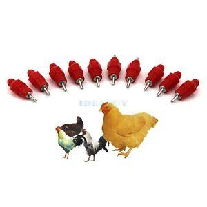 10pcs Chicken Duck Hen Screw In Poultry Water Nipple Drinker Feeder New 10 CP