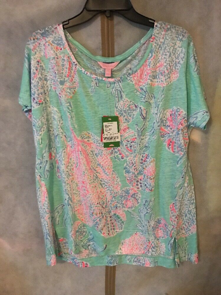 Lilly Pulitzer NWT Mikela Top Minty Fresh Fansea  Large Free Shipping