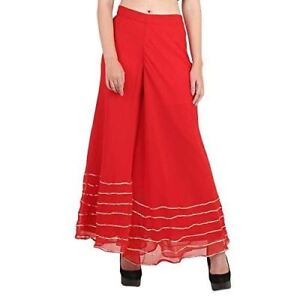 Stylish-Flared-Solid-Ready-made-Regular-Fit-Stretchable-Georgette-Palazzo-With-G
