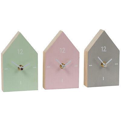 Scandi Small Wooden House Home Mantle Shelf Clock Decor Pink Green Grey Pastel