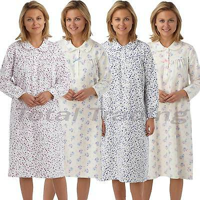 100% QualitäT Ladies Nightdress Flannel Brushed 100% Cotton Nightie Long Sleeve Winceyette
