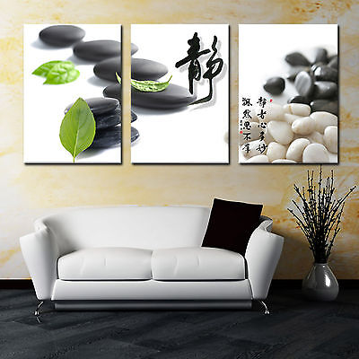 Zen Stone/Calm 3 panel mounted on fiberboard canvas wall art/surpassed  stretched | eBay