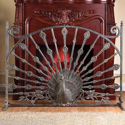 Regal Peacock Fireplace Screen