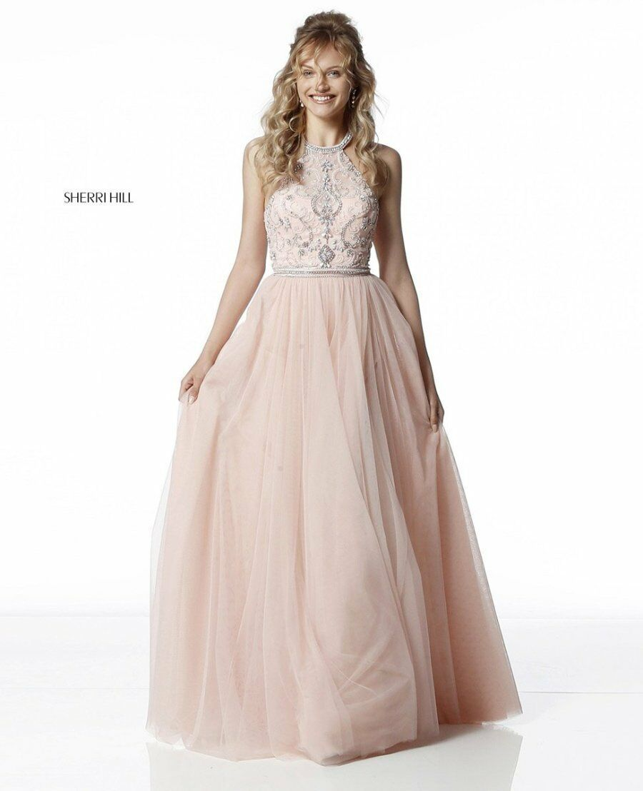 Sherri Hill 51604 Nude Stunning Pageant Prom Gown Dress S6