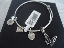 Alex and Ani BUTTERFLY Russian Silver Charm Bangle New W/Tag Card & Box
