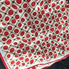 Marc Jacobs Silk Scarf Red Beige Dot Circle Neck Tie Scarf