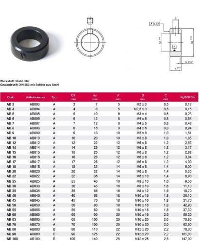 Stellring aus Stahl C45 brüniert für 17mm Wellen ab h9 DIN 705
