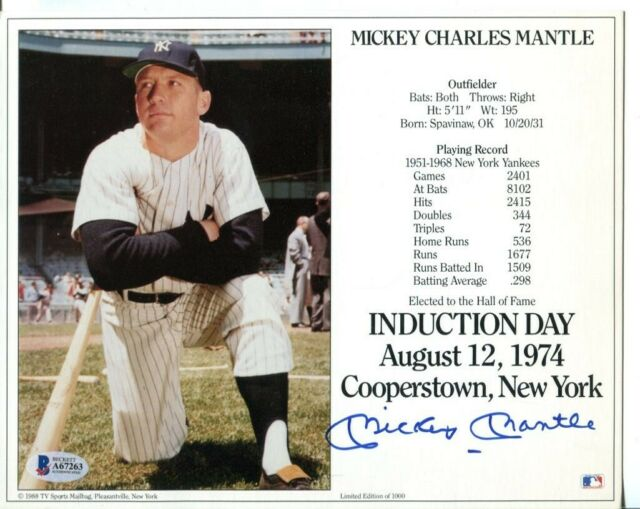 Mickey Mantle Signed Photo 8x10 Autographed Yankees PSA/DNA AH20030