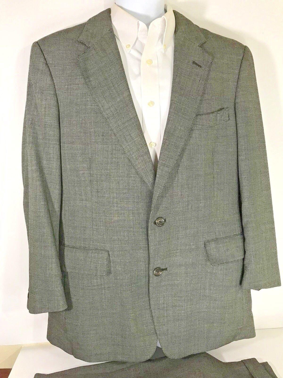Brooks Bredhers Mens Wool Grey Birdseye Suit Size 44R  CL19