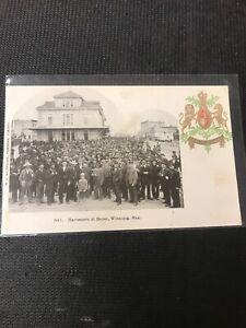 real-photo-Postcard-Harvester-At-Depot-Winnipeg-Manitoba-Portrait-1909-A1