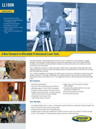 Spectra Precision LL100N-1 Laser Level Kit w//Tripod 15/' Tenths Rod /& HR320