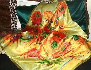 100-Silk-Scarf-90x90SQ-Art-ClassicVincent-VG-034-Sunflowers2-Premium-Lush-Silk-BR