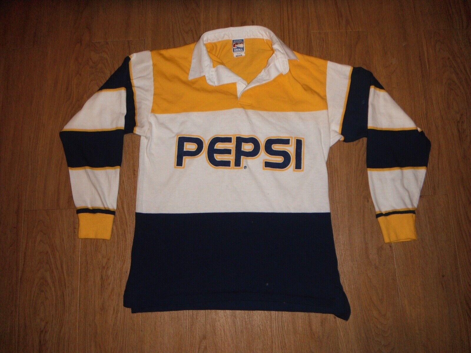 0f6f38ff Vintage & Rare Pepsi Cola Polo Rugby Shirt Men's MEDIUM Made In USA ...