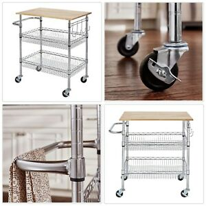 Details about Gatefield Chrome Large Kitchen Cart with Rubber Wood Top