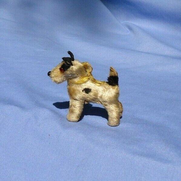 Antiguo fripon Fox Terrier azulette Moda Muñeca compañero Alemania Etiqueta Perro