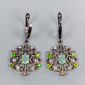 Natural-Emerald-Earrings-Silver-925-Sterling-Handmade-E39242