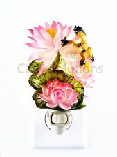 Beauty Pink Lotus With Flowers And A Yellow Frog On Top, Night Lights