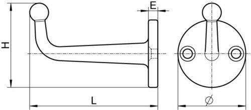 Haken Kleiderhaken Handtuchhaken Edelstahl A2  47mm