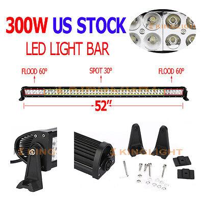 52INCH 300W EPISTAR LED WORK LIGHT BAR COMBO SPOT&FLOOD DRIVING OFFROAD BAR 4WD