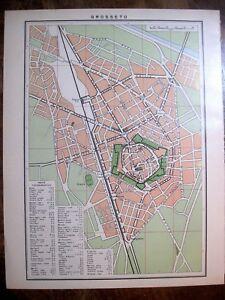 Cartina Toscana Da Stampare.Stampa Antica Mappa Pianta Della Citta Toscana Grosseto 1962 Ebay