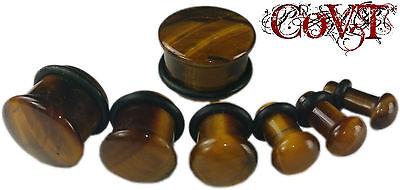"Pair 6g-5/8"" Tiger Eye Single Flare Solid Plugs Tunnels Organic Stone Ear Gauges"
