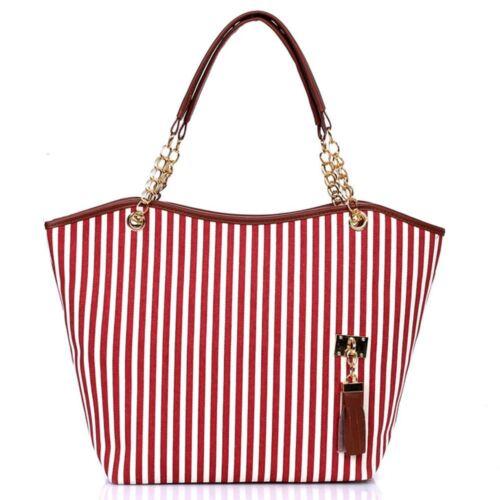 Ladies Designer Canvas Tote Bag Shoulder Handbag Beach Summer Shopper Strips Bag
