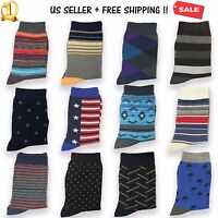 Lot of 6&12 Pairs New Cotton Men Dress Crew Socks Casual Size 10-13 Multi Colors