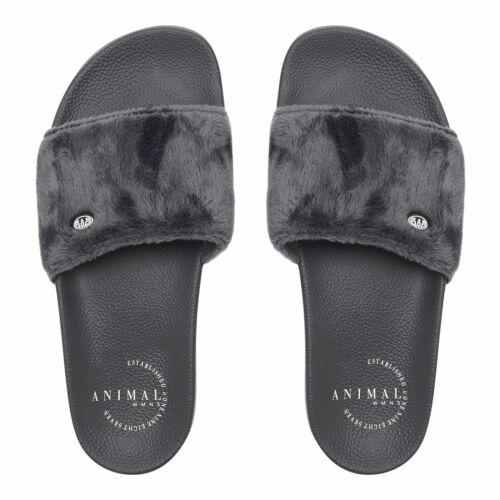 Animal Womens Slyd Slider Flip FlopsMagnet Grey