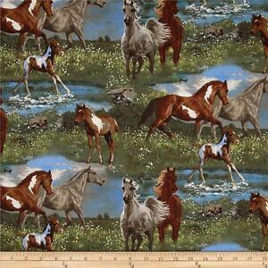 24de211ee40 Wild Wings Camden Yard Horse & Foal Scenic Multi Cotton Quilting ...