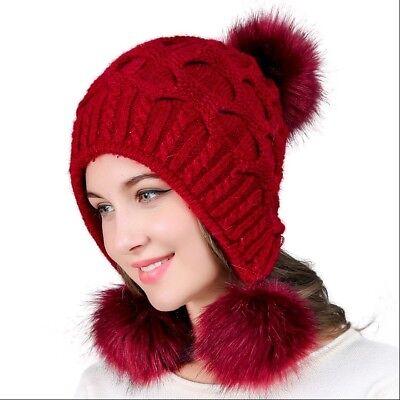 Women Faux Fur Double Pompom Hat Winter Warm Knitted Beanie Casual Cap