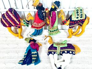 6-Vintage-Handmade-Sequined-NATIVITY-WISEMEN-Christmas-Ornaments-Camels-Horse