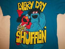 "Sesame Street Cookie Monster Elmo ""Every Day I'm Shufflin'"" Blue T Shirt - M"