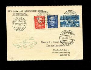 Zeppelin Sieger 166 1932 250th Switzerland flight Swiss treaty franking