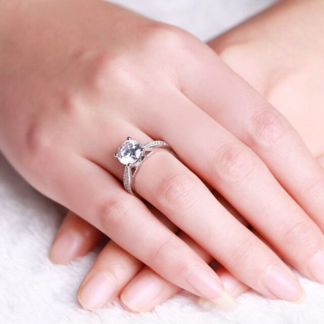 Jewelry Womens Size 6,7,8,9 White Sapphire 925 Silver Filled Engagement Rings