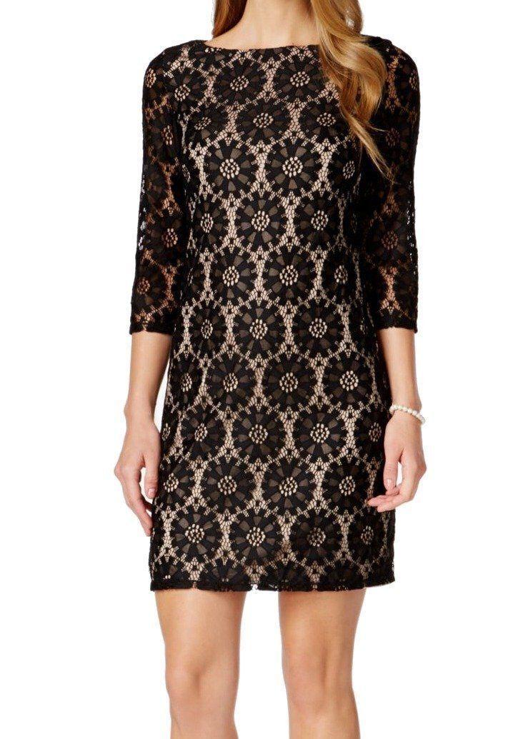 Jessica Howard, 3 4 4 4 Sleeve Lace Sheath Dress, Blk Nude Womens Size 4P (orig  89) 1e287c