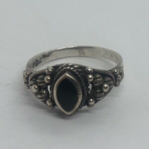 Vintage-Sterling-Silver-Ring-925-Size-8-Onyx-Band-Unique