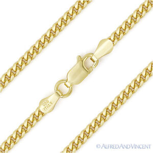 3-5mm-Miami-Cuban-Curb-Link-Italy-Sterling-Silver-14k-Yellow-Gold-Chain-Necklace