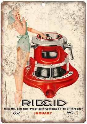 1953 Rigid Pipe Threaders Pinup Metal Sign Vintage Look Reproduction