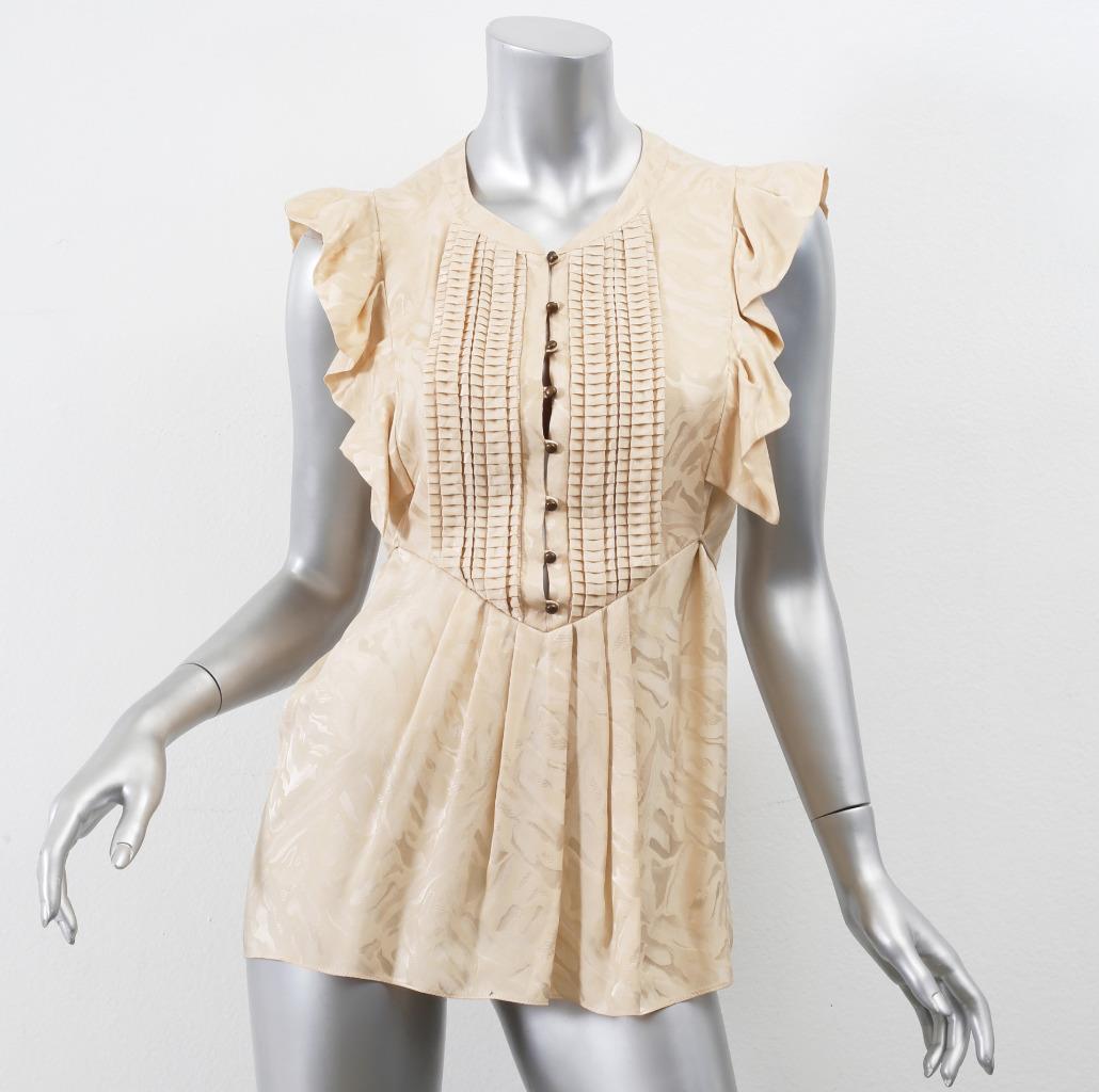 MATTHEW WILLIAMSON damen Taupe Printed Sleeveless Ruffle Silk Blouse US 6