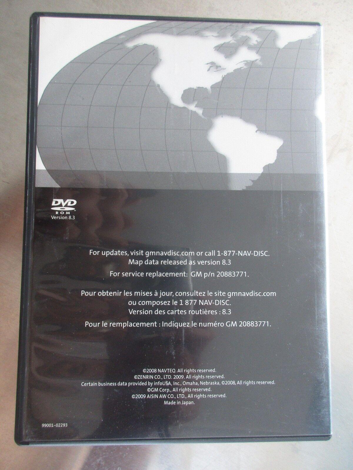 GM General Motors Cadillac Navigation Disk CD DVD 20883771 Version 8 3 Lot1