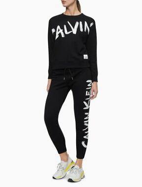 Calvin Klein Performance Brush Logo High Waist Drawstring Joggers