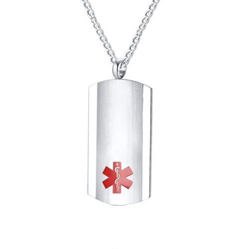 Personalized Engraving Medical Alert ID Name Pendant Necklace 3D Tag Customized