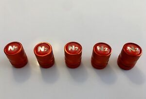5-Orange-Aluminum-Nitrogen-VALVE-CAPS-N2-Inlayed-TPMS-Safe-w-Decal