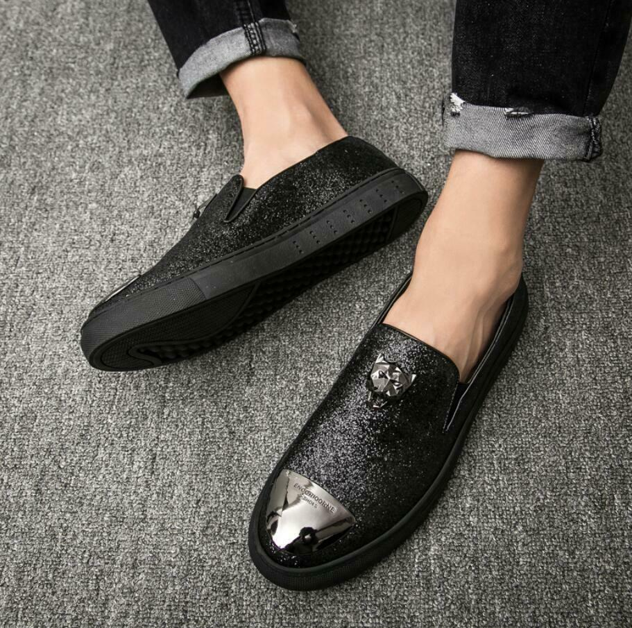 Mens Driving Slip On Loafers Sequins Sneakers Rhinestones Round Toe shoes New SZ