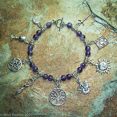 9 Charm Bracelet with Real 6 mm Amethysts.Pagan Jewellery, Epona Boudica.