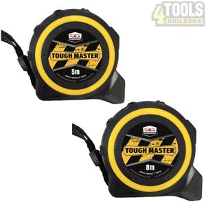 Toughmaster bande de poche mesure métrique//impérial 5M//16ft Anti-Impact Pack de 12